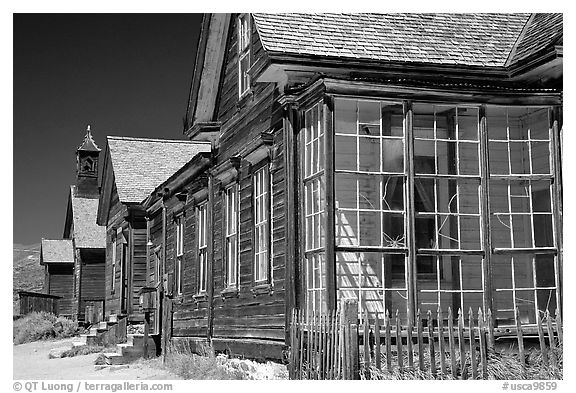 Main street row, Ghost Town, Bodie State Park. California, USA (black and white)