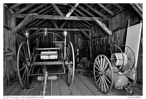 Fire station, Ghost Town, Bodie State Park. California, USA (black and white)