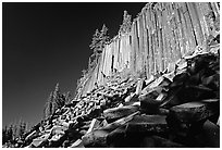 Columnar basalt, afternoon,  Devils Postpile National Monument. California, USA (black and white)