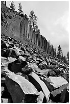 Blocks and columns of basalt, Devils Postpile National Monument. California, USA (black and white)