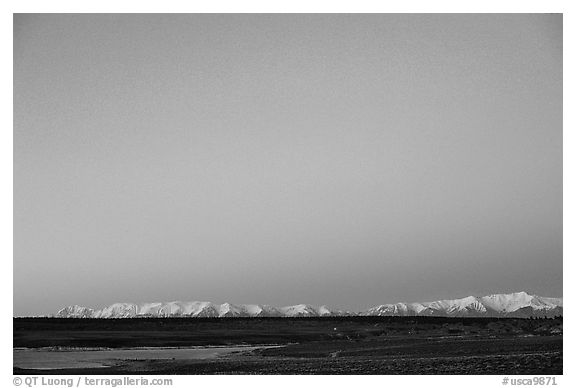 Lake Crowley and White Mountains at dusk. California, USA (black and white)