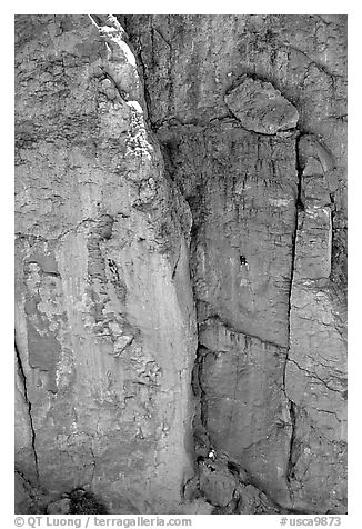 Climbers in Owens River Gorge. California, USA (black and white)
