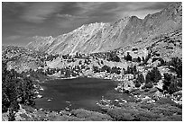 Small Lake, mountain, and fisherman, Inyo National Forest. California, USA (black and white)