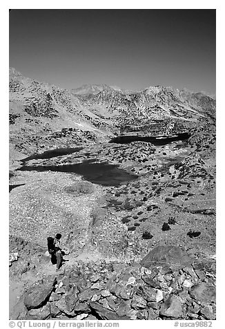 Chain of lakes seen from Bishop Pass, Inyo National Forest. California, USA (black and white)