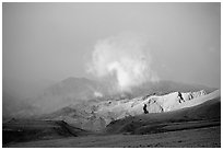 Cloud and Inyo Mountains  in stormy weather, late afternoon. California, USA (black and white)