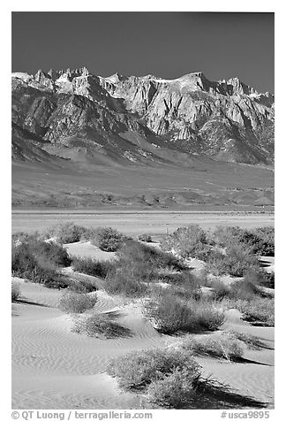 Sierra Nevada Range rising abruptly above Owens Valley. California, USA (black and white)