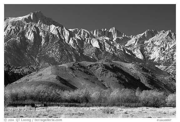 Mt Whitney, Sierra Nevada mountains, and foothills. California, USA (black and white)