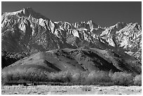Mt Whitney, Sierra Nevada mountains, and foothills. California, USA ( black and white)