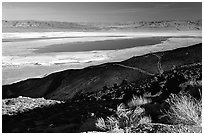 Owens Lake, Argus and Panamint Ranges, afternoon. California, USA ( black and white)