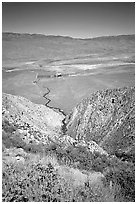 Owens Valley seen from the Sierra Nevada mountains. California, USA ( black and white)