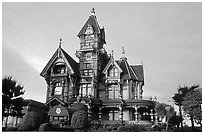 Carson Mansion on M Street, Eureka. California, USA (black and white)