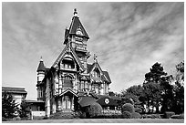 Carson Mansion, the most famous Victorian building of Eureka. California, USA (black and white)