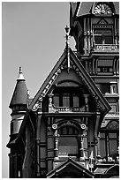 Detail of Victorian architecture of Carson Mansion, Eureka. California, USA (black and white)