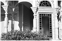 Detail of Victorian architecture of the Pink Lady,  Eureka. California, USA ( black and white)
