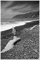 Black sand beach, Lost Coast. California, USA (black and white)
