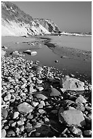Pebbles, pool, and beach near Fort Bragg. Fort Bragg, California, USA ( black and white)
