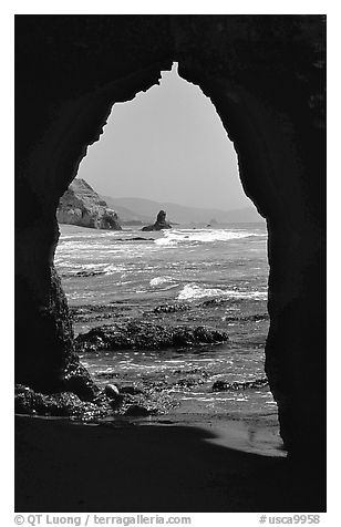 Arch near Arch Rock. Point Reyes National Seashore, California, USA (black and white)
