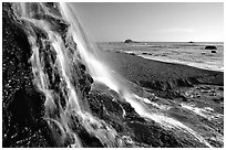 Alamere Falls and beach. Point Reyes National Seashore, California, USA (black and white)