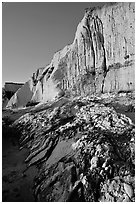 Rocks and Cliff, Sculptured Beach, sunset. Point Reyes National Seashore, California, USA (black and white)