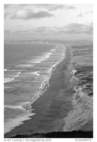Point Reyes Beach, sunset. Point Reyes National Seashore, California, USA (black and white)