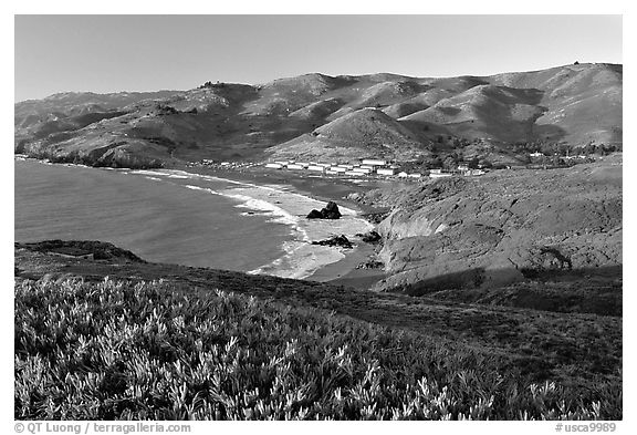 Fort Cronkhite and Rodeo Beach and hills, late afternoon. SF Bay area, California, USA