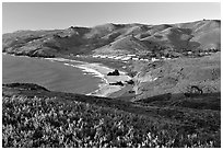 Fort Cronkhite and Rodeo Beach and hills, late afternoon. California, USA (black and white)