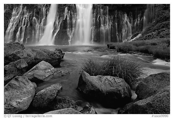 Burney Falls, McArthur-Burney Falls Memorial State Park, early morning. California, USA (black and white)