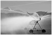 Irrigation machine and Mt Shasta. California, USA (black and white)