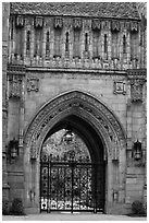 Gate in gothic style, Branford College. Yale University, New Haven, Connecticut, USA (black and white)