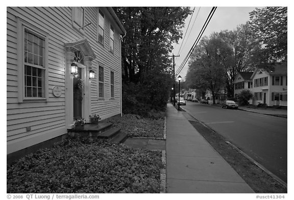 Main street at dusk, Essex. Connecticut, USA (black and white)