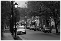 Street and storefronts at dusk, Essex. Connecticut, USA (black and white)