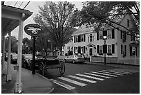 Street with historic buildings at dusk, Essex. Connecticut, USA (black and white)