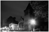 Church at night, Essex. Connecticut, USA ( black and white)