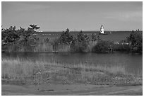 Pond and lighthouse, Old Saybrook. Connecticut, USA ( black and white)