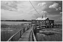 Deck and old stilt house, South Cove, Old Saybrook. Connecticut, USA (black and white)