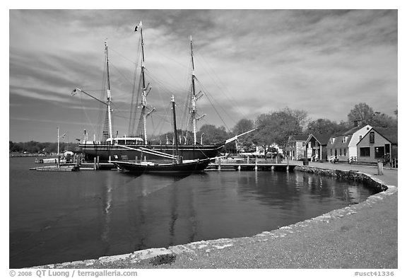 Historic harbor and tall ship. Mystic, Connecticut, USA (black and white)