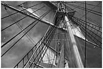Sails and masts of Charles W Morgan whaleship. Mystic, Connecticut, USA (black and white)