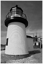 Brant Point replica lighthouse. Mystic, Connecticut, USA (black and white)