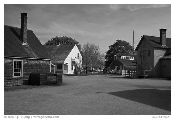 Maritime village. Mystic, Connecticut, USA (black and white)
