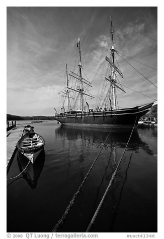 Charles W Morgan 1841 wooden whaleship. Mystic, Connecticut, USA (black and white)