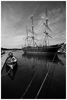Charles W Morgan 1841 wooden whaleship. Mystic, Connecticut, USA ( black and white)