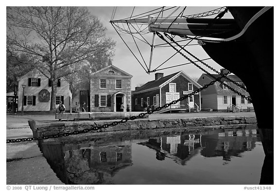 Ship and historic buildings. Mystic, Connecticut, USA (black and white)