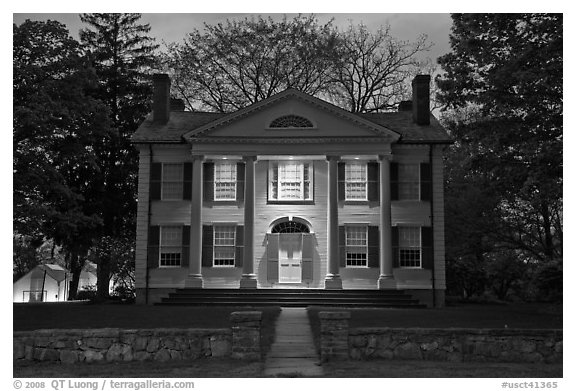 Florence Griswold House at dusk, Old Lyme. Connecticut, USA (black and white)