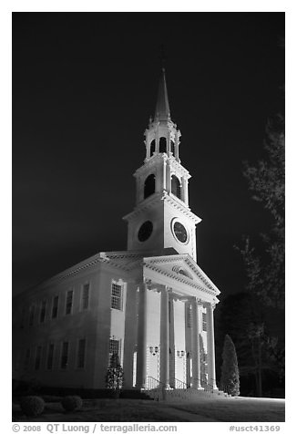 First Congregational Church (1665) at night, Old Lyme. Connecticut, USA (black and white)