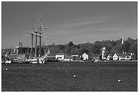 Ship, houses, and church across the Mystic River. Mystic, Connecticut, USA (black and white)
