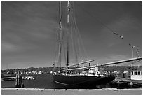 LA Dunton 19th-century fishing schooner. Mystic, Connecticut, USA ( black and white)
