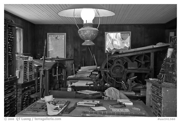 Print shop. Mystic, Connecticut, USA (black and white)