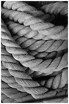 Rope close-up. Mystic, Connecticut, USA (black and white)