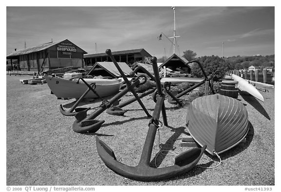 Anchors and small boats. Mystic, Connecticut, USA (black and white)
