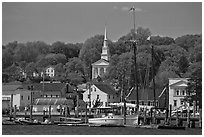Pier, village and church. Mystic, Connecticut, USA ( black and white)